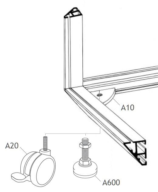 A600 pé regulavel sapata estrutura balcão vitrine alumínio