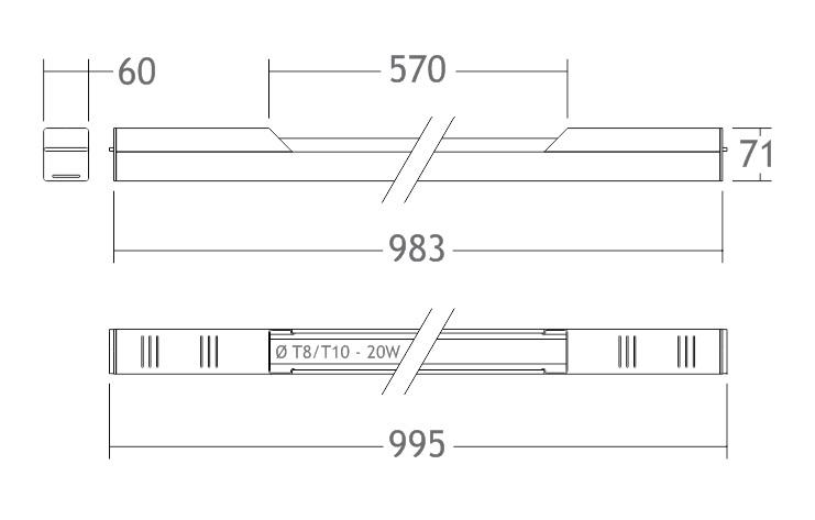 A100 luminária alumínio calha lâmpada fluorescente stands cabines camarins boxes