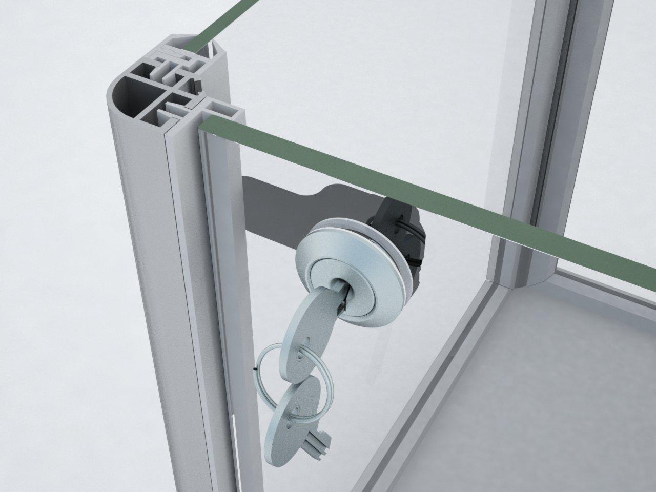 Batente fixado ao perfil C100 para fechamento de porta com a fechadura P140