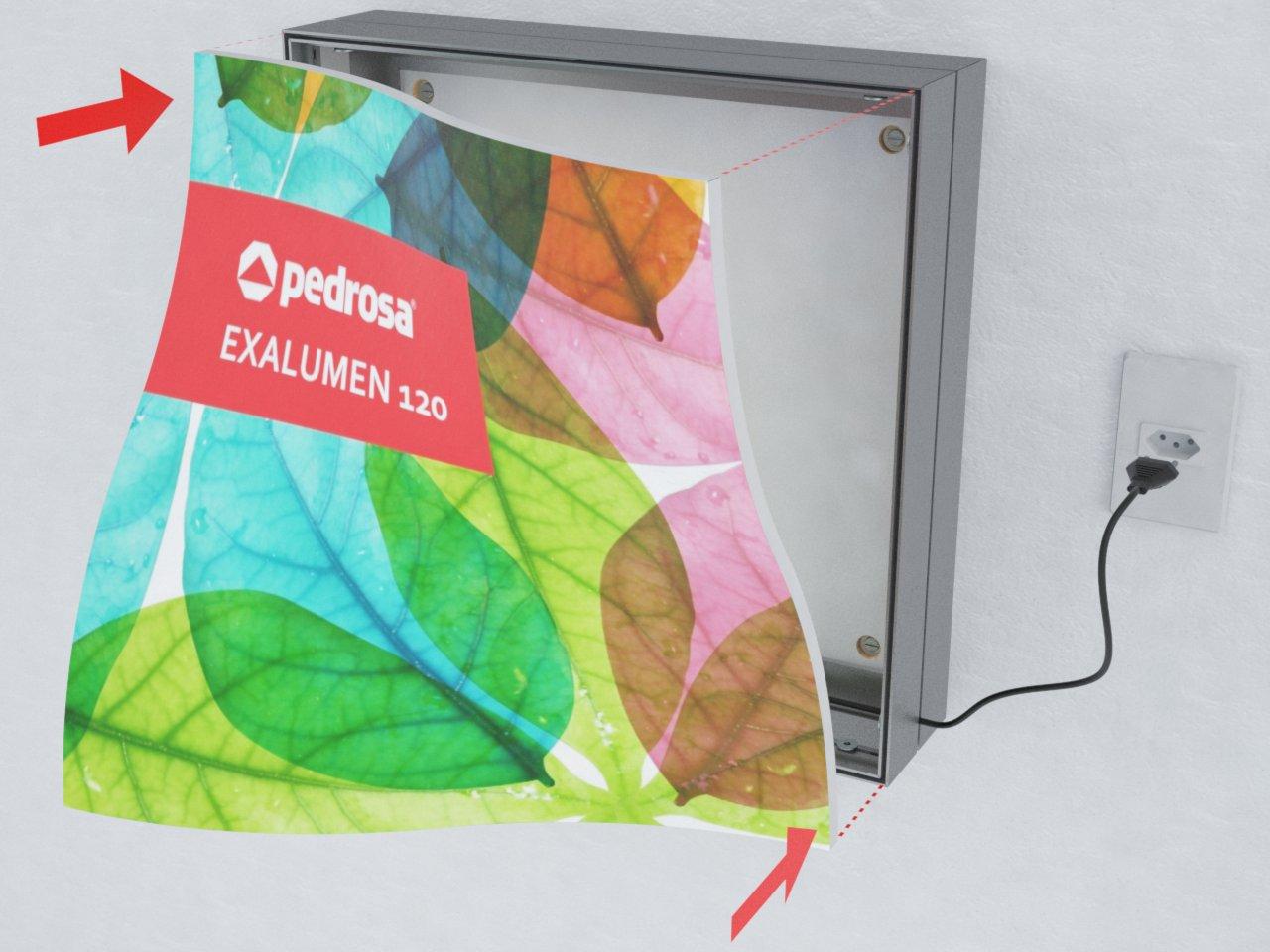 Detalhe do perfil de alumínio H190 para esticar tecido ou lona em painéis e displays
