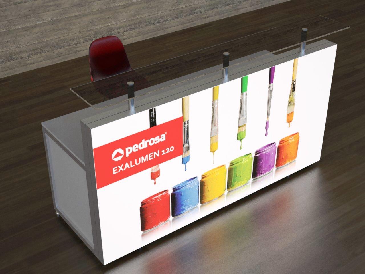 Balcão de recepção com frente retroiluminada por LEDs, imagem impressa em tecido e tampo de vidro.
