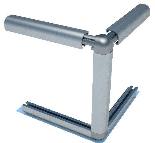 C100 perfil alumínio abaulado arredondado estrutura vitrines displays