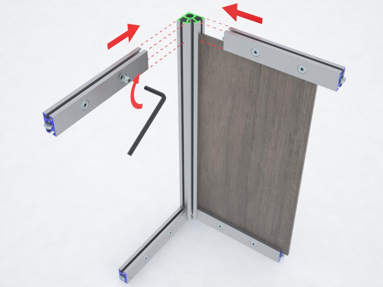 Perfil de coluna em alumínio para montagem de estruturas e divisórias