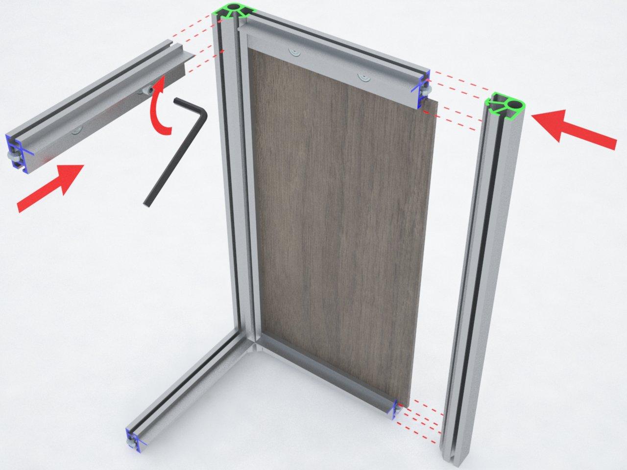 Perfil de coluna C130A para montagem de estruturas para divisórias, stands, etc.
