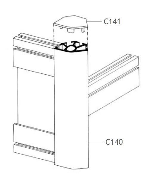 C140 montante alumínio montagem stands estruturas perfil octanorm feiras