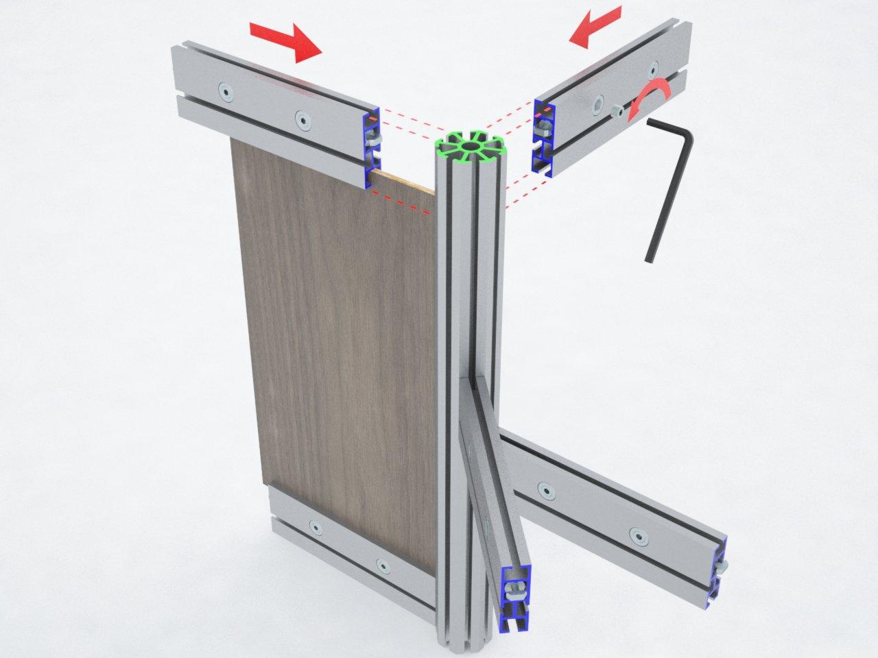 Detalhe da montagem das travessas de alumínio T500L no montante C180, para formar estruturas modulares de stands, divisórias, boxes de corrida, cabines de foto, etc.