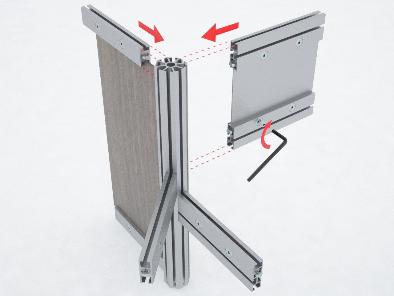 Esquema de montagem no montante de alumínio C180. Ideal para formar estruturas de stands, divisórias, boxes de corrida, etc.