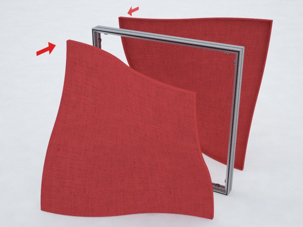 Perfis de alumínio para formar quadros com tecido ou lona tensionados nas duas faces