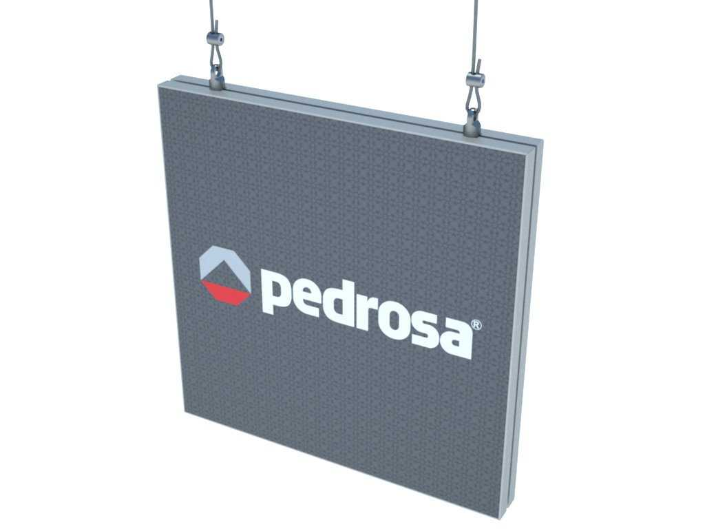 Placa de sinalização montada com o perfil de alumínio H110 para esticar imagem impressa em tecido ou lona, suspensa por cabo de aço