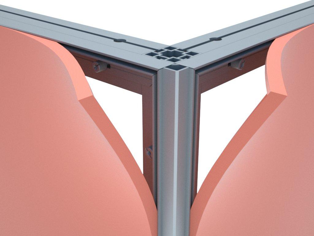 Detalhe de estrutura montada com o perfil H120 para esticar tecido ou lona