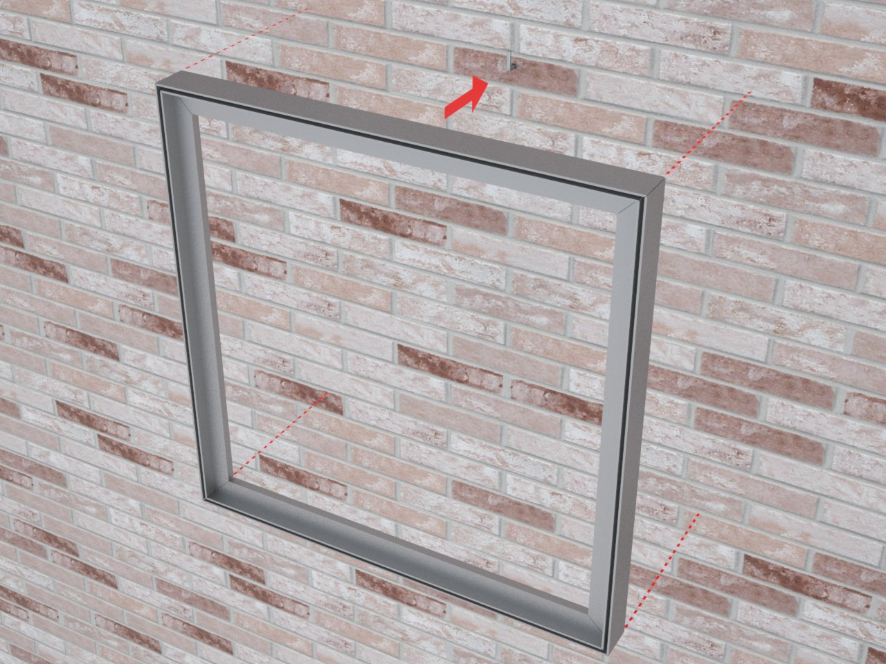 Moldura de parede montada com o perfil de alumínio H130 para tensionar tecido ou lona com imagem impressa para publicidade, decoração ou sinalização