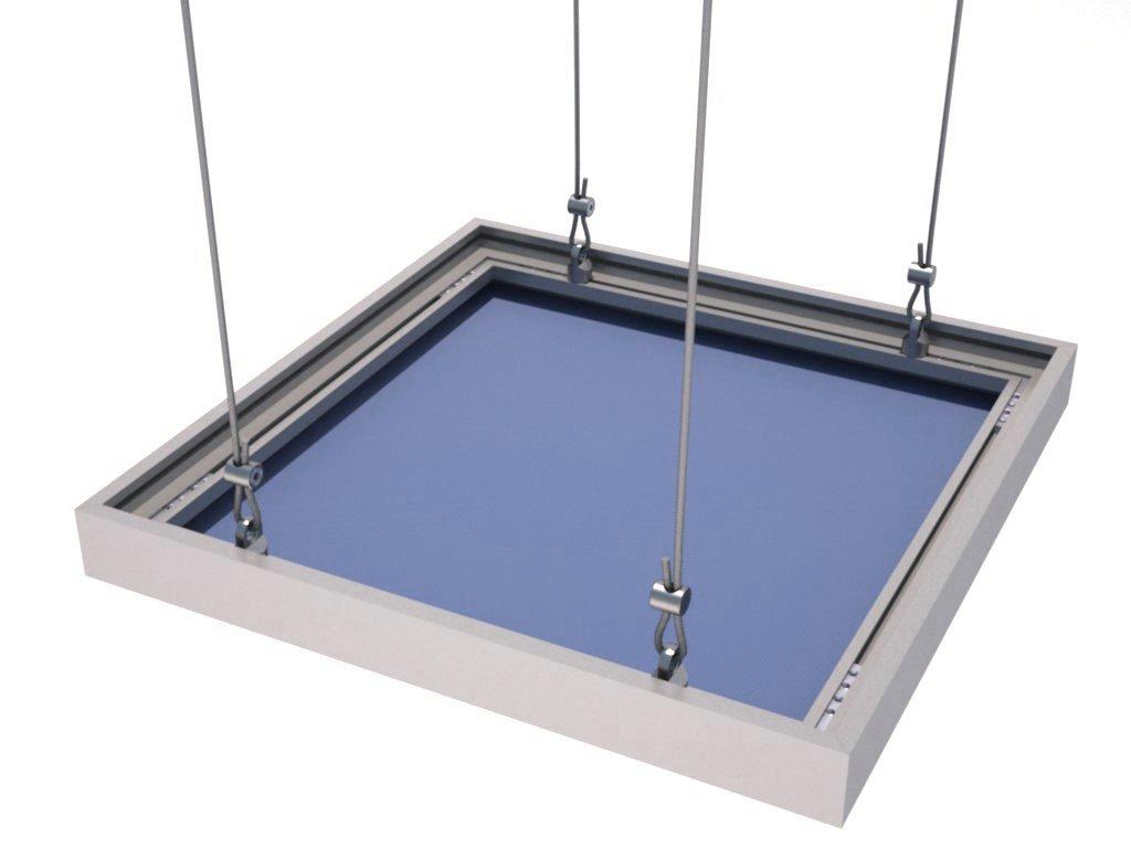 Quadro suspenso por cabos montado com o perfil de alumínio H130 para tensionar tecido ou lona