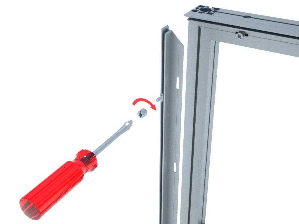 Detalhe da fixação do perfil de alumínio H140 à estrutura montada com perfis M2040, através das presilhas H101. Ideal para montagem de paredes para divisão de ambientes em stands, quiosques, lojas e outras instalações promocionais.