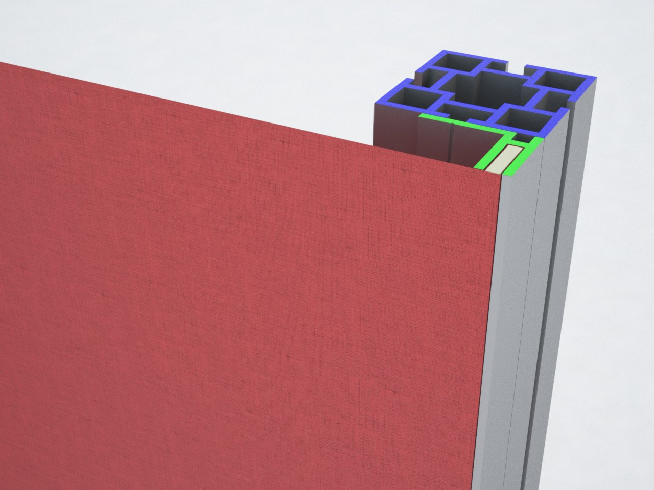 Estrutura de alumínio com perfis M2040 e H140 para esticar tecido ou lona em stands para feiras, divisórias, painéis, etc.