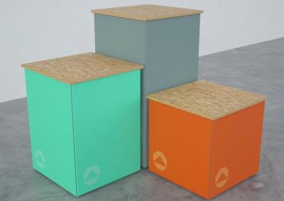 Cubos de alumínio com tecido esticado para exposições