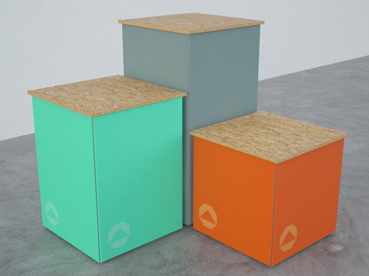 Cubos de alumínio com tecido esticado para exposições. Ideal para expor produtos em lojas, stands, dentre outros ambientes comerciais.