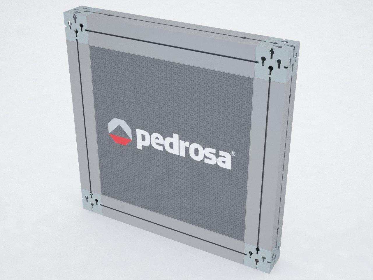 Estrutura de alumínio com perfis M2080 e H170 para esticar imagens em tecido ou lona em stands, divisórias, painéis, etc.