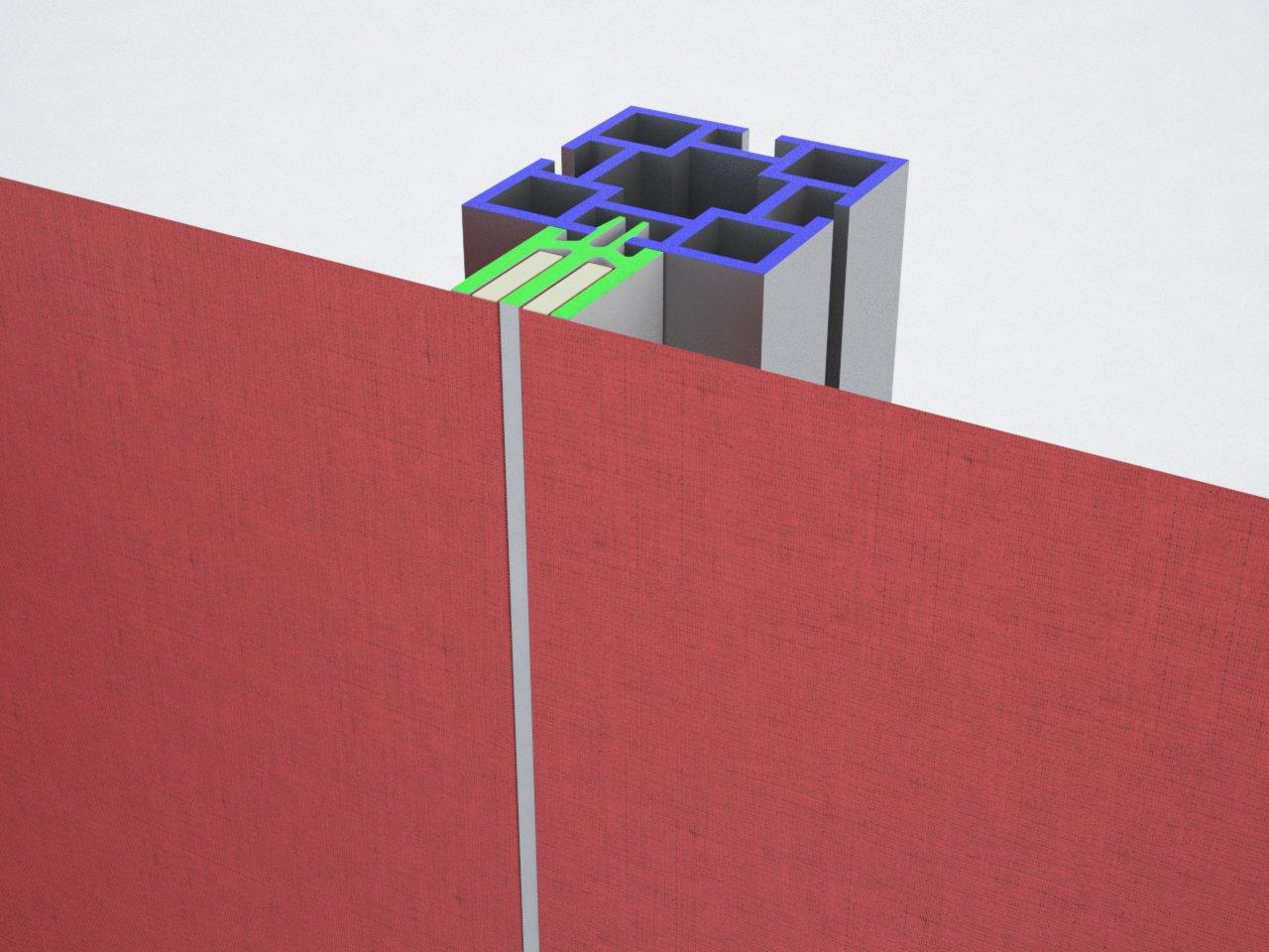 Detalhe do encaixe do perfil H180 à estrutura de alumínio para encaixe de tecido ou lona
