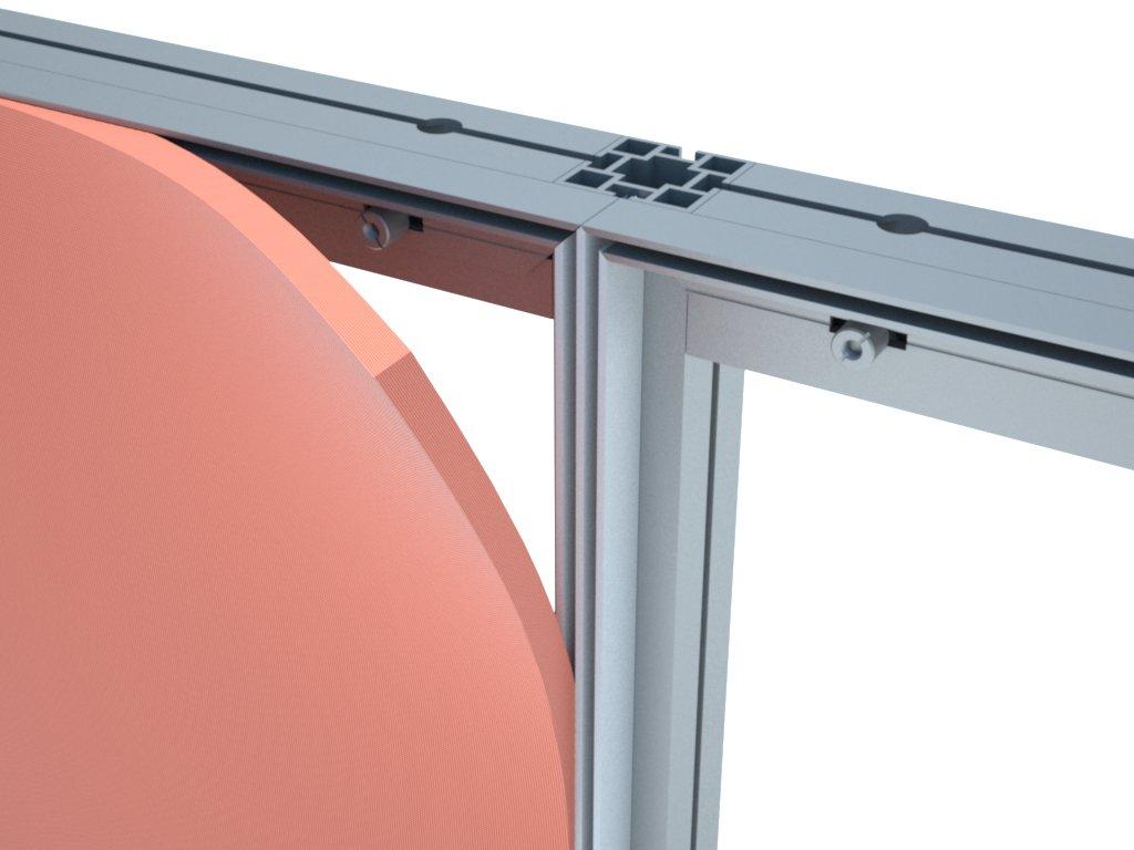 O H180 é um perfil de PVC próprio para repartir em duas partes a estrutura com tecido ou lona tensionada. Ideal para stands, divisórias, painéis, e outros equipamentos promocionais.