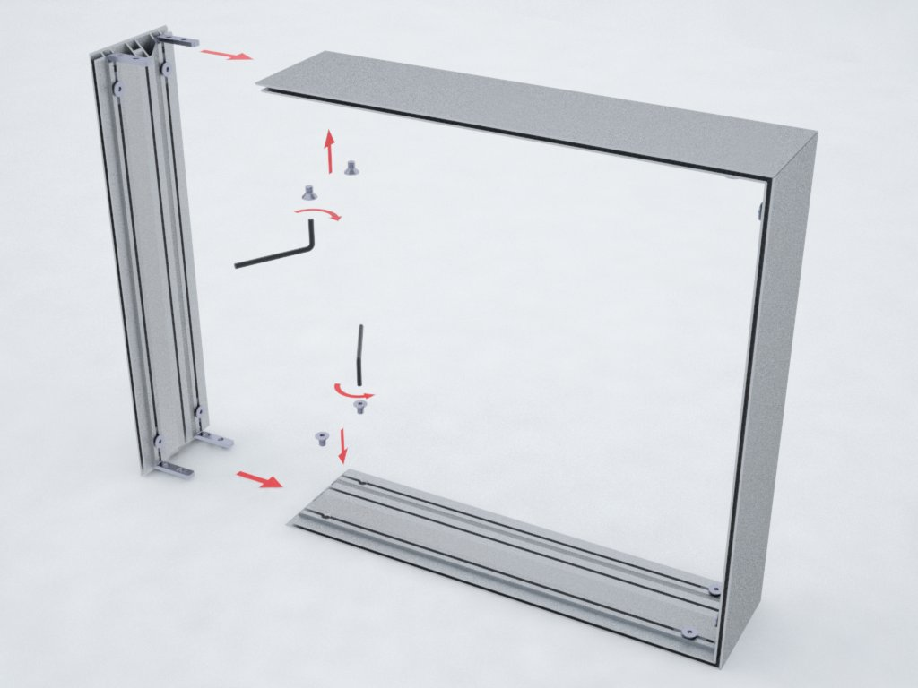 Perfis de alumínio H200 para formar backlight de tecido ou lona tensionados nas duas faces