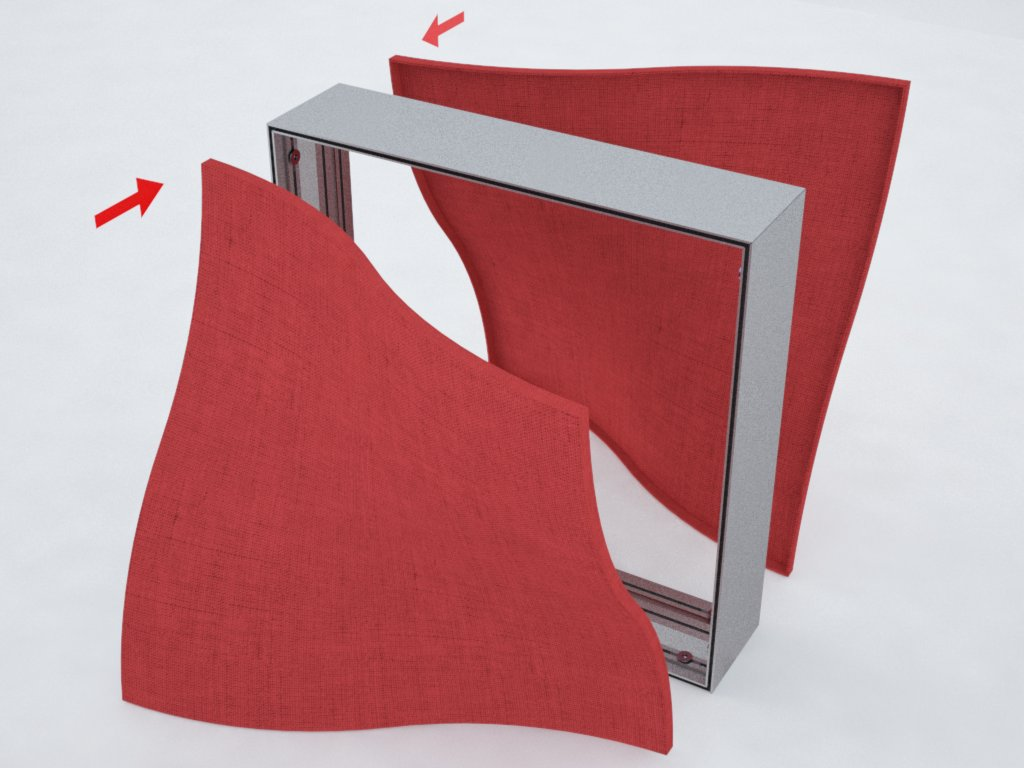 Perfis de alumínio H200 para backlight de tecido ou lona tensionados nas duas faces