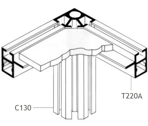 T220A perfil travessa alumínio montagem stands estruturas octanorm