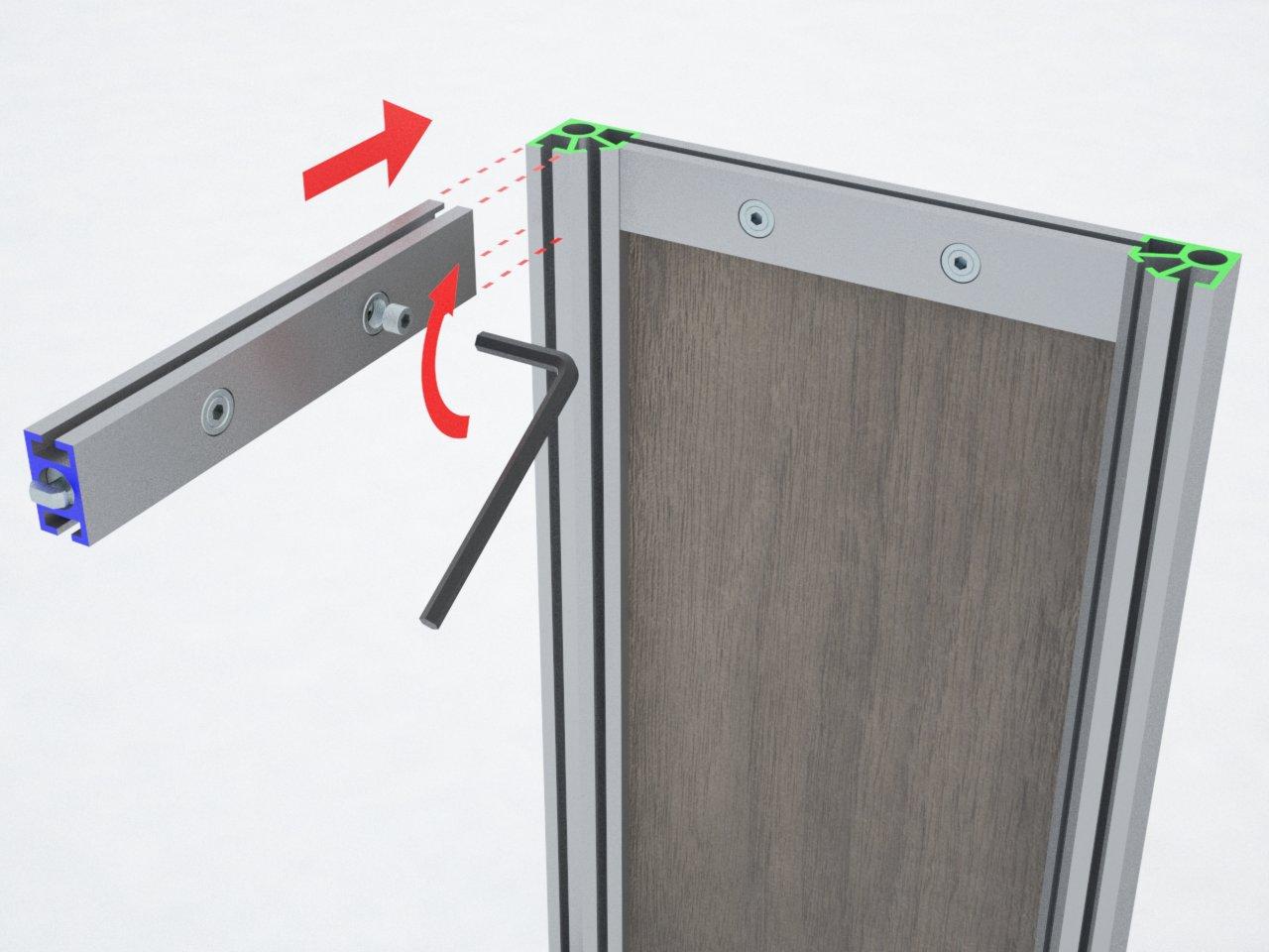 Perfil de travessa em alumínio para montagem de estruturas e divisórias