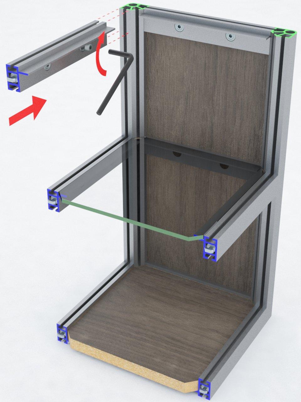 Perfil de travessa T280A para montagem de estruturas em alumínio com prateleiras de vidro ou mdf