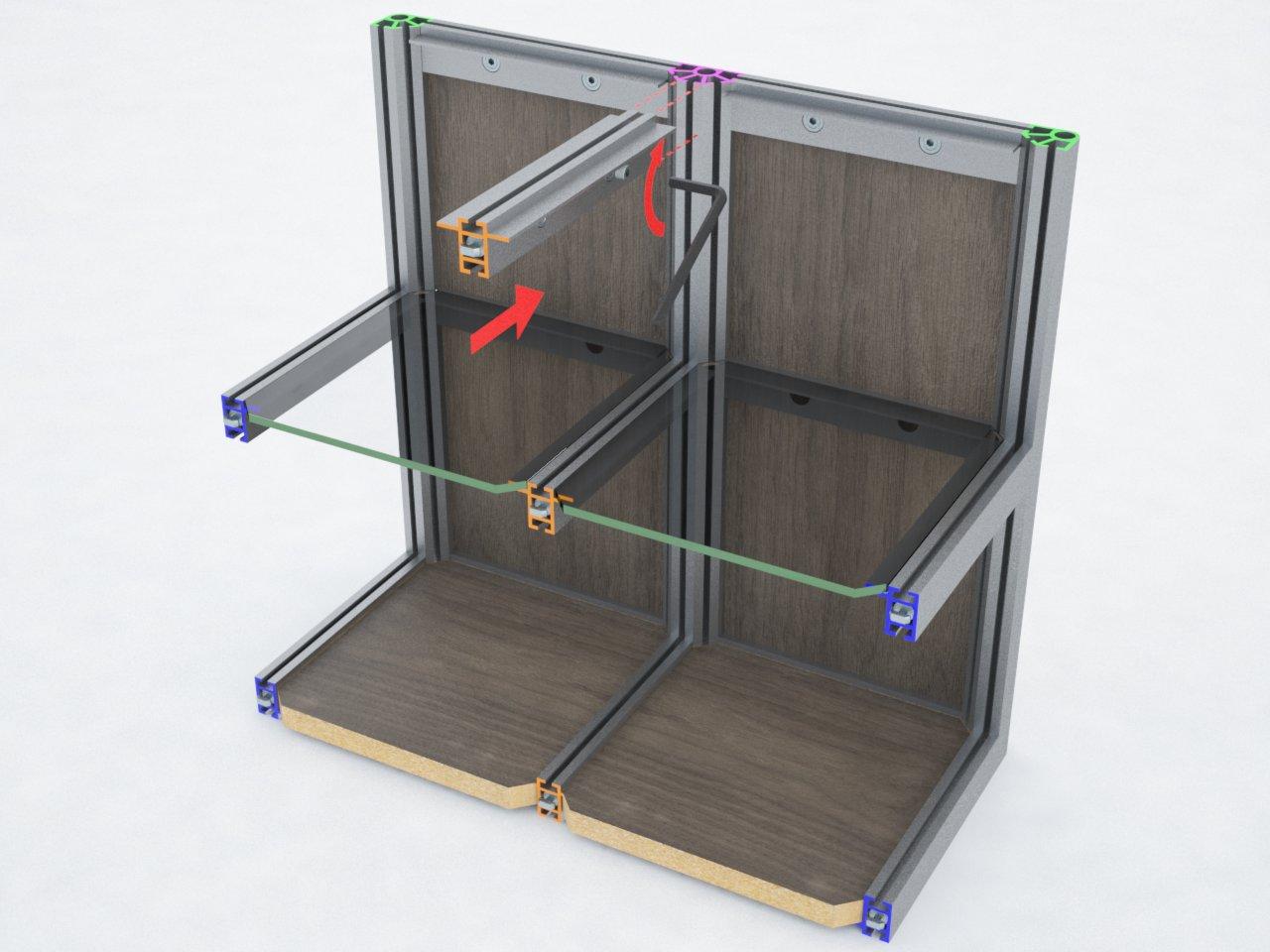 Perfil de travessa T280B com 2 abas para montagem de estruturas em alumínio com prateleiras de vidro ou mdf
