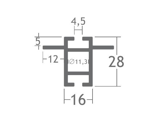 T280B perfil travessa alumínio montagem stands estruturas octanorm