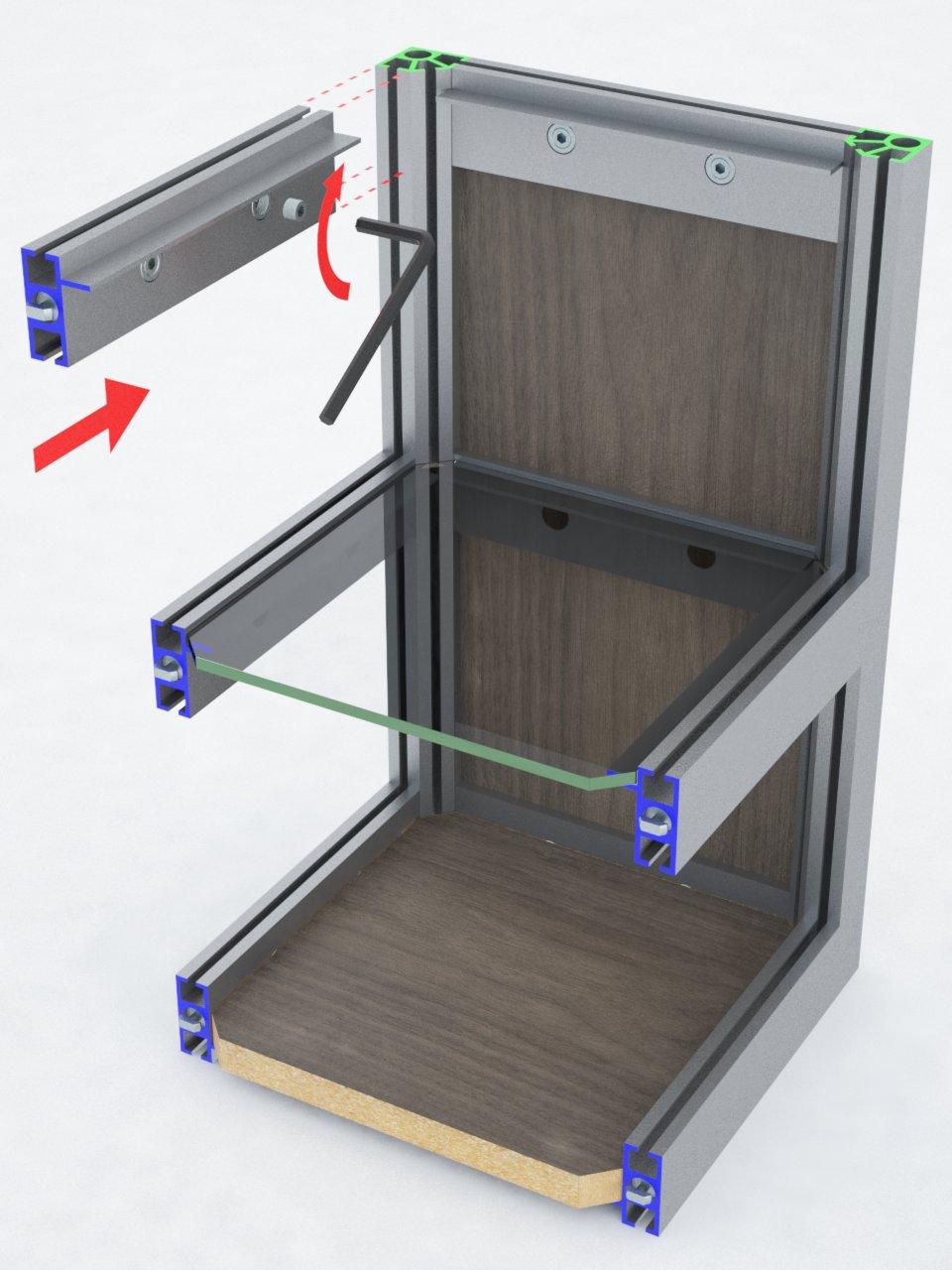 Perfil de travessa T400A para montagem de estruturas em alumínio com prateleiras de vidro ou mdf