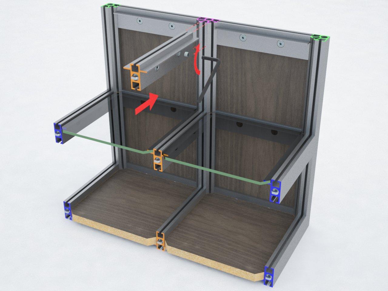 Perfil de travessa T400B para montagem de estruturas em alumínio com prateleiras de vidro ou mdf