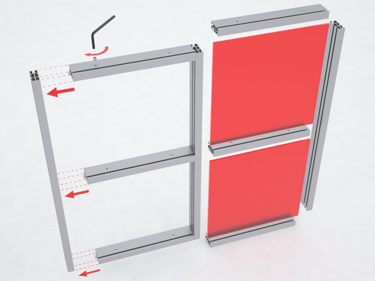 Exemplo de montagem dos perfis de alumínio T450 e T460 para formar estruturas para stands, lojas e divisórias