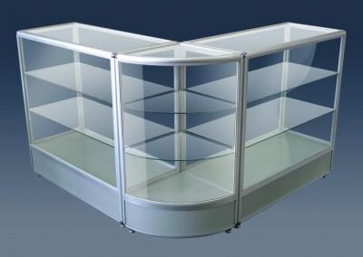 Balcão vitrine montado com perfis de alumínio C100 e vidro