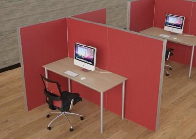 Divisórias para escritório com estrutura em aluminio e revestimento em tecido