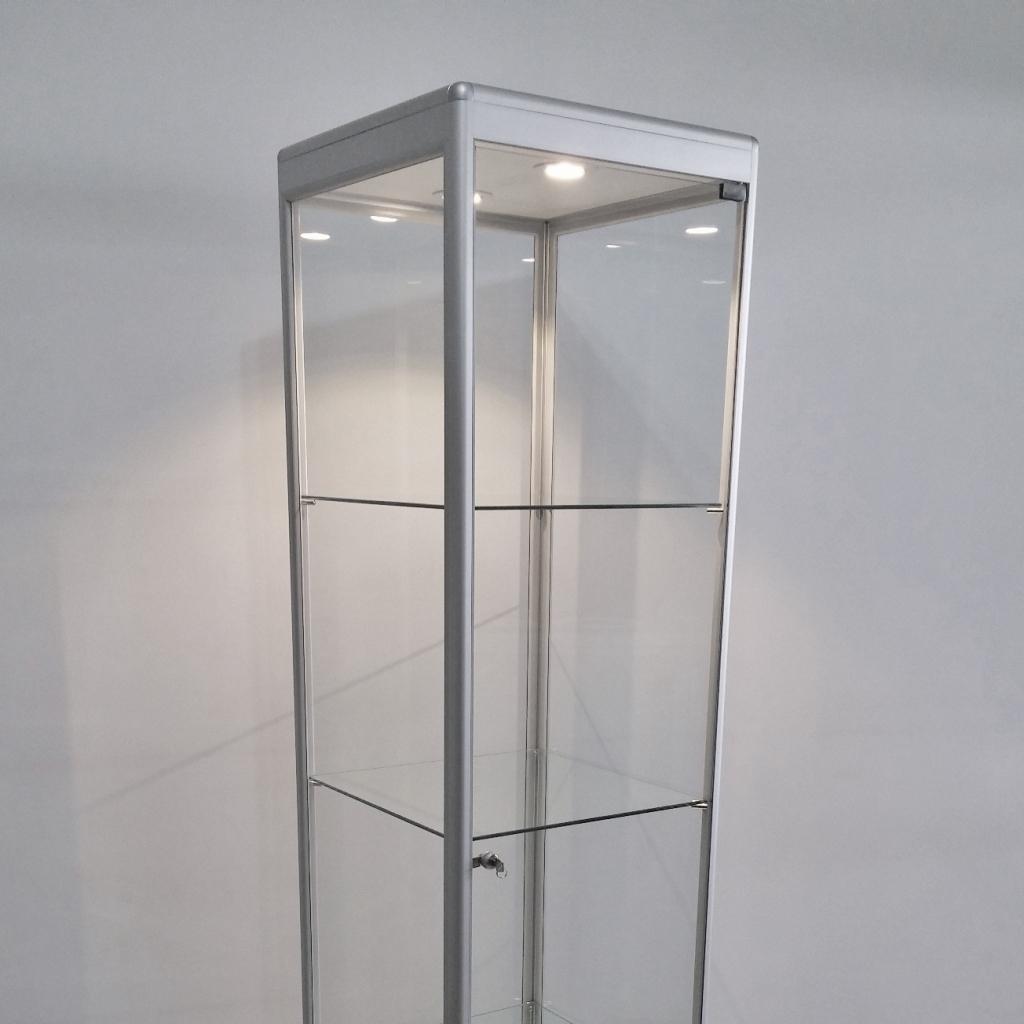 vitrine aluminio vidro expositor produtos coleções com fechadura