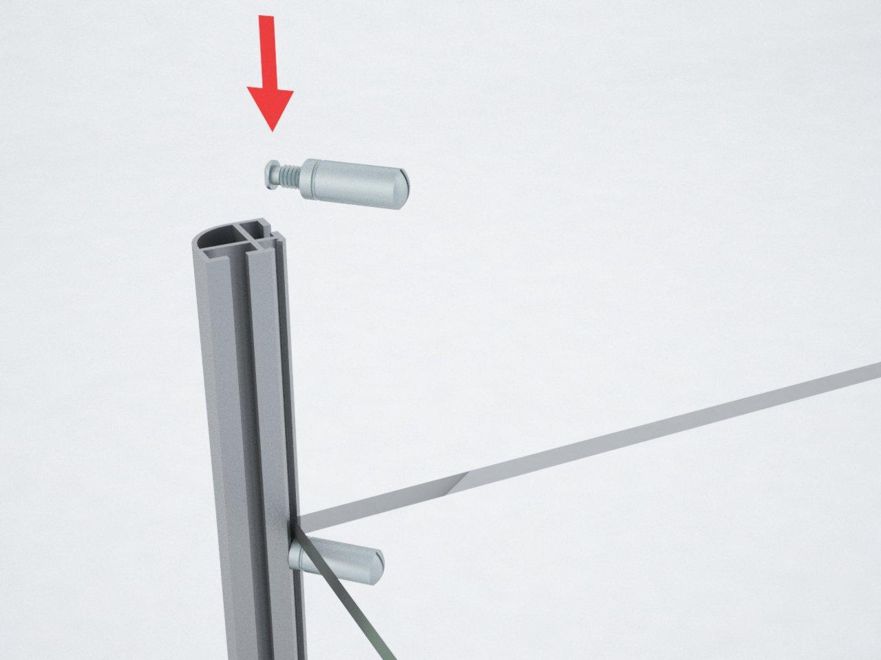 Pino de suporte para prateleira com encaixe no perfil C100