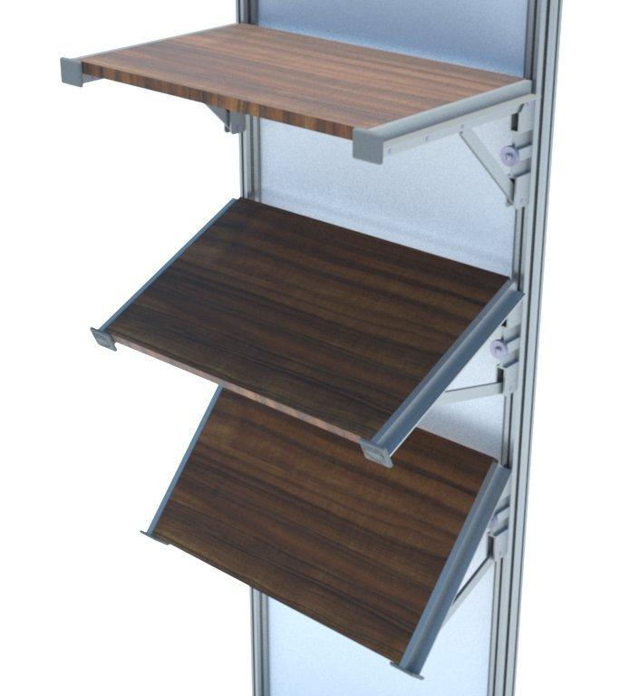 Angulos de inclinação da mão francesa (A700). Peça feita em alumínio com regulagem de inclinação para montagem de prateleiras em stands e outras estruturas promocionais.