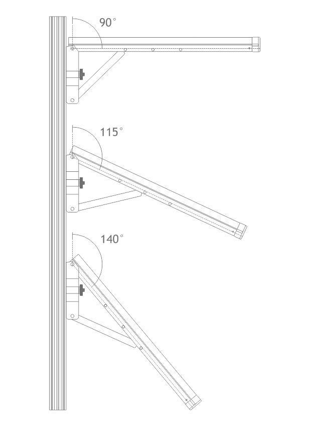 Angulos de inclinação da mão francesa (A701). Peça feita em alumínio com regulagem de inclinação para montagem de prateleiras em stands e outras estruturas promocionais.