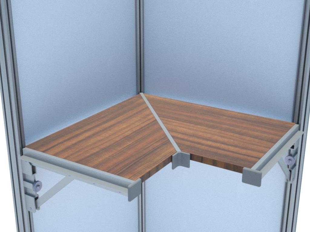 Prateleira de canto com mão francesa diagonal (A701) feita em alumínio e com regulagem de inclinação para montagem em stands e outras estruturas promocionais