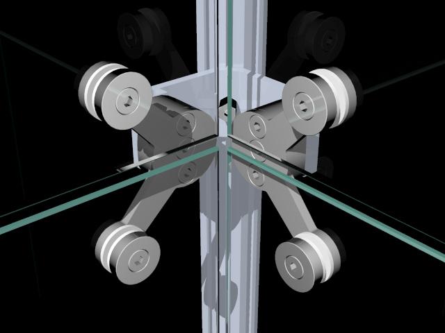 Adaptador de canto para parede montada com fixadores tipo spider