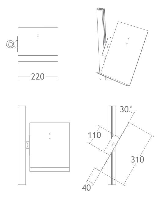 B500B bandeja prata porta folhetos folders estrutura display alumínio