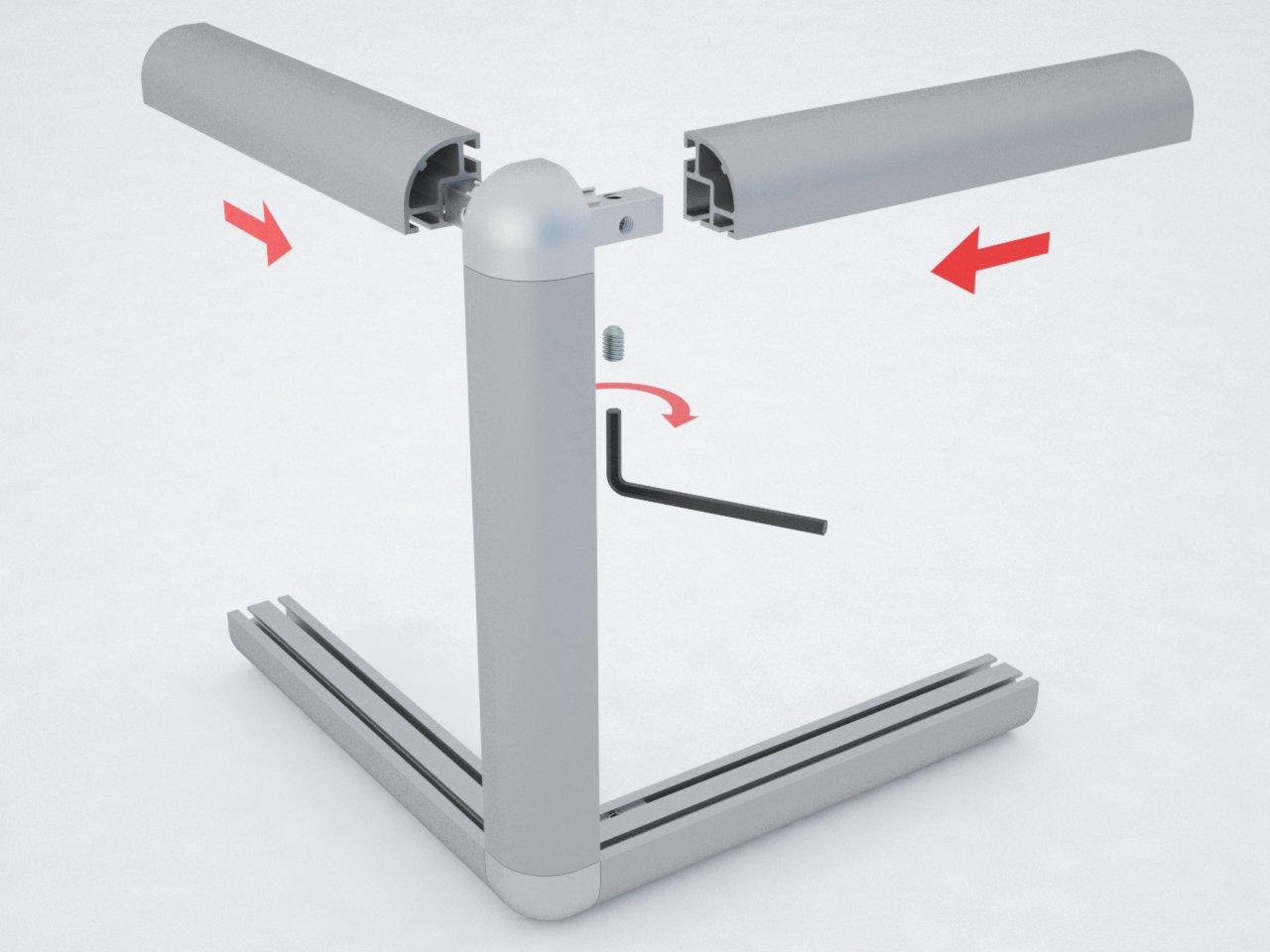 Detalhe da montagem da conexão C551 com o perfil de alumínio C550 para formar estruturas para móveis, vitrines, e outras finalidades