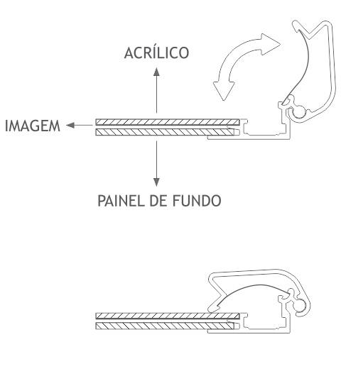 snap frame moldura click alumínio abertura frontal