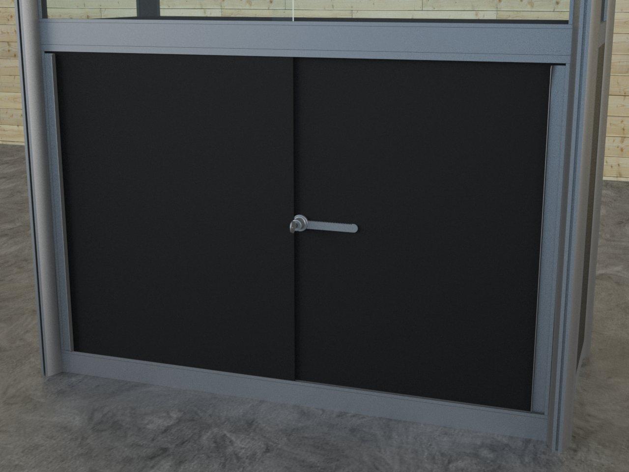 Detalhe de porta de correr com o perfil puxador em alumínio E600