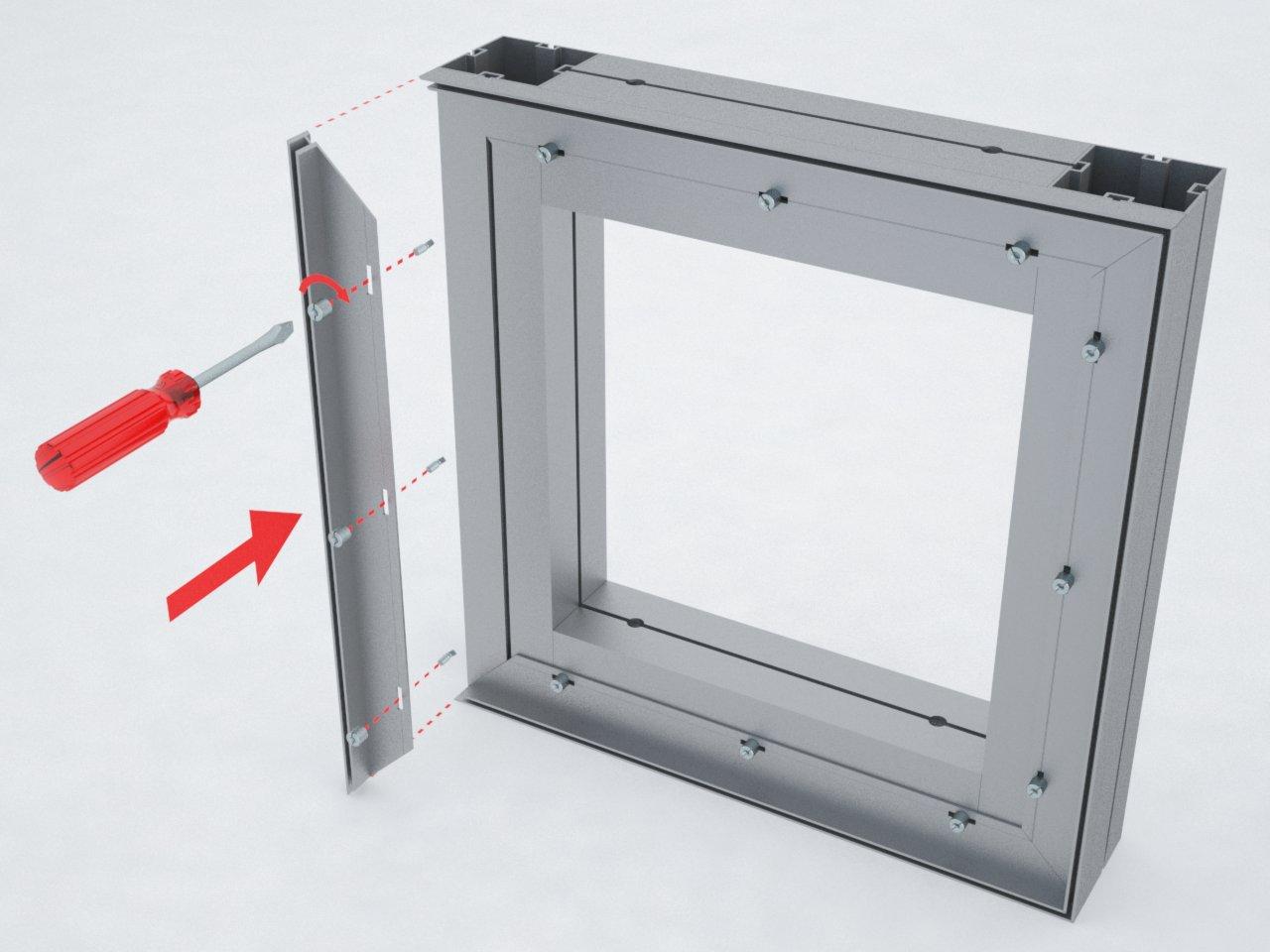 Estrutura de alumínio com perfis M2080 e H210 para esticar tecido ou lona em stands, divisórias, painéis, etc.