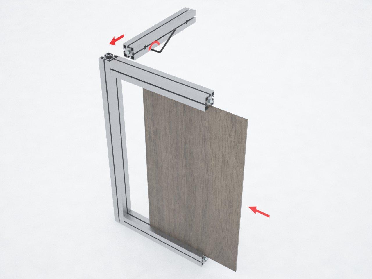 Detalhe do perfil de alumínio quadrado de 40mm para montagem de estruturas