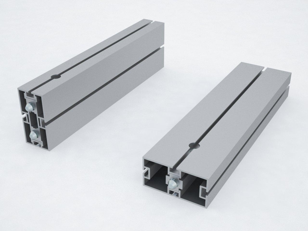 Detalhe do perfil de alumínio retangular M2100