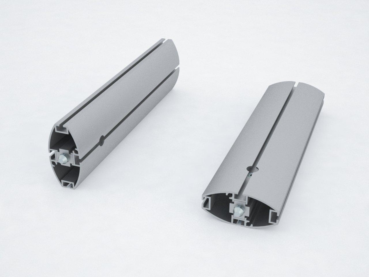 Detalhe do perfil de alumínio oval M2110