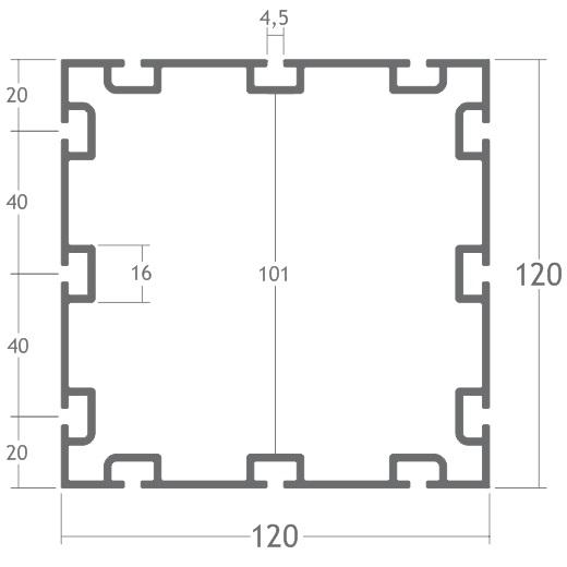 perfil alumínio quadrado 120mm montagem estrutura octanorm stands eventos